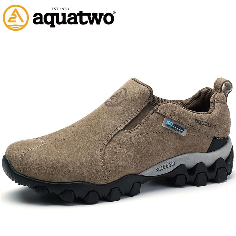 AQUA TWO Outdoor Camping Men Sports Hiking Shoes Suede Genuine Leather Walking Sneakers Durable Waterproof Shoes ES-100957