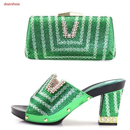 doershow Latest Italian Shoes and Bags To Match Shoes with Bag Set Shoes and Bag Set African Sets 2018 Party Shoes and Bag BB-5