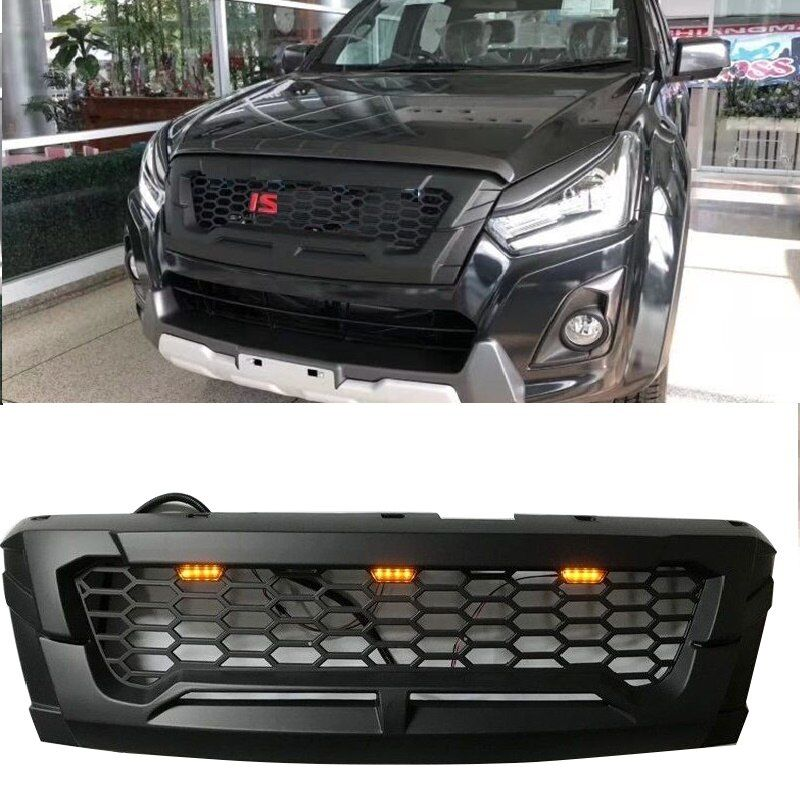 MATTE BLACK FRONT RACING GRILLE GRILLS FRONT BUMPER MASK COVER FIT FOR ISUZU DMAX D-MAX 2016-2018 GRILL AUTO EXTERIOR COVERS