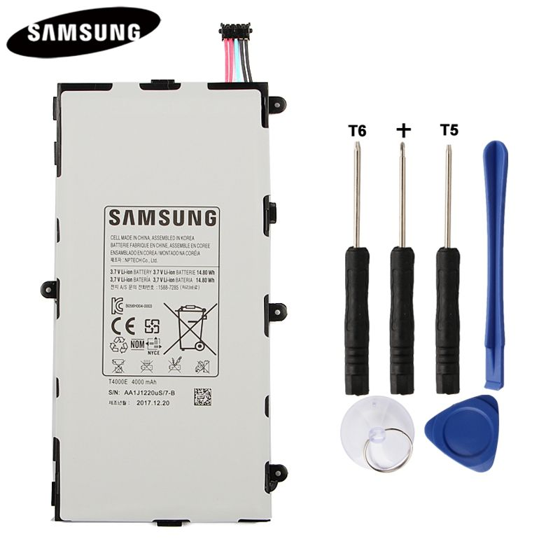 100% batterie de tablette originale T4000E pour Samsung GALAXY Tab3 7.0 T210 T211 T2105 T217A remplacement Batteries authentiques 4000 mAh