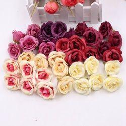 10 piezas 4 cm seda Rosa Artificial flor de la boda muebles para el hogar DIY guirnalda hojas artesanías simulación barato Fake Flowers