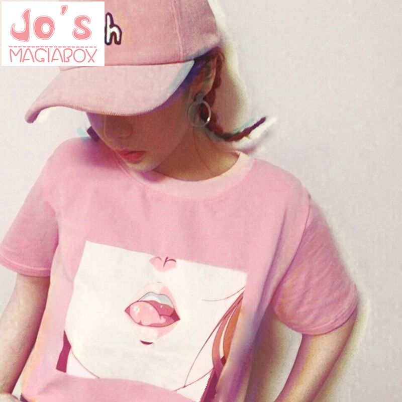 Tee-shirt Femme 2017 À Lèvres Sexy T-shirt Kawaii Corée Ulzzang Harajuku Imprimé Femmes Rose T-Shirts décontracté Lâche courtes manches hauts