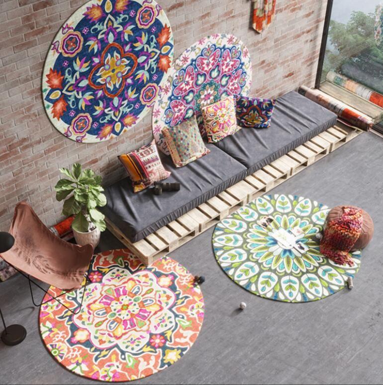 Europäische Retro Ethnischen Jacquard Küche Bad Anti Slip runde Teppiche Hause Eingang runde boden teppich Fußmatte schlafzimmer tapis
