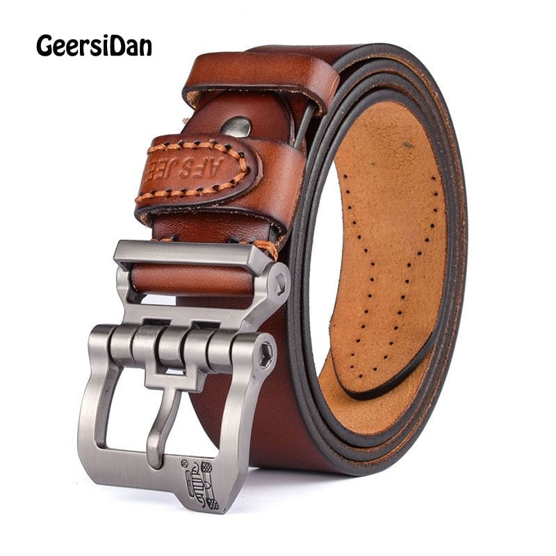 2017 New designer high quality luxury brand 100% cow genuine leather pin buckle belts for men male fashion business men belts