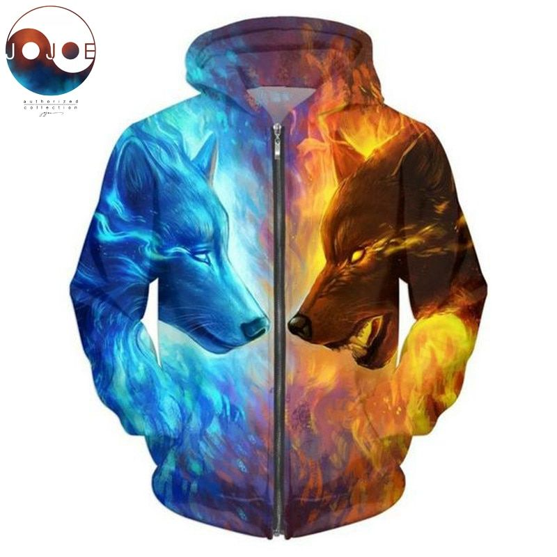 Ice and Fire by JojoesArt 3D Wolf Zipper Hoodies Unisex Zip Up Sweatshirts Men Hoodies Hooded Brand Cardigan Casual Drop Ship