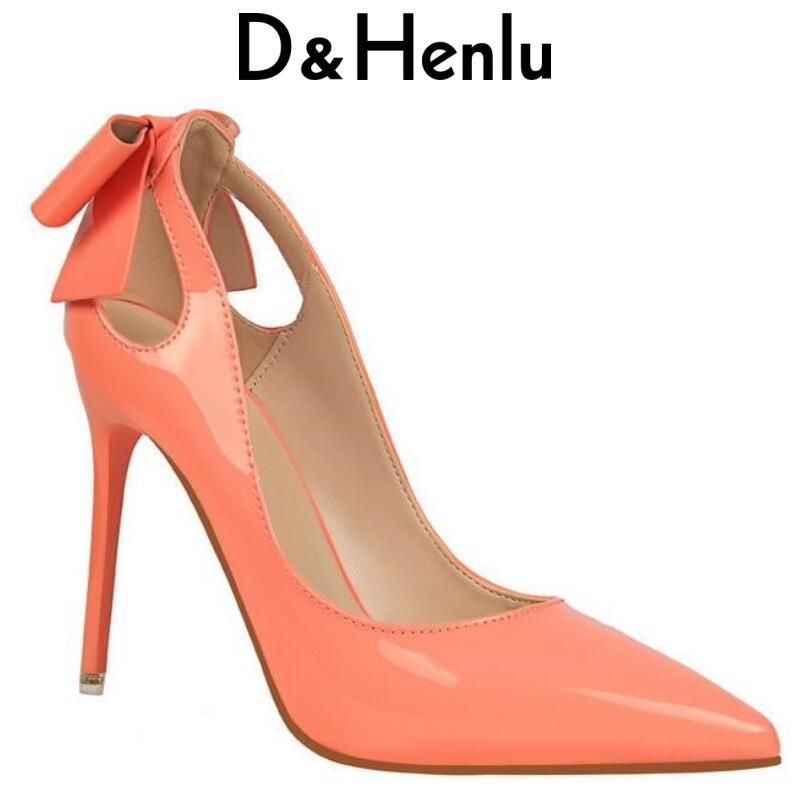 {D&Henlu} Brand Women's Shoes Sweet Big Bow High Heels Women Pumps Stiletto Thin Heel Pointed Toe Hollow High-heeled Shoes 10cm