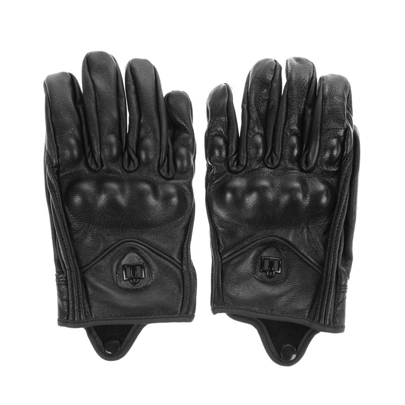 Stylish Leather Motorcycle Gloves Protective Armor Short Gloves M/L/XL Full Finger Without Hole High Quality for Riding Sports
