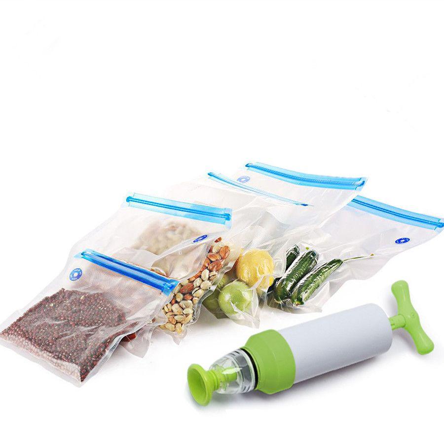 Vacuum Sealer Vacuum bags For Food <font><b>Storage</b></font> With Pump Reusable Food Packages Kitchen Organizer(Containing 5pcs bags) Vacuum pump