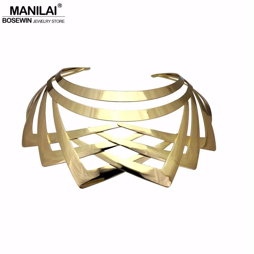 MANILAI Trendy Arc Hohl Metall Große Drehmoment Choker Halsketten Frauen Indische Geometrische Kragen Aussage Halskette Schmuck Großhandel