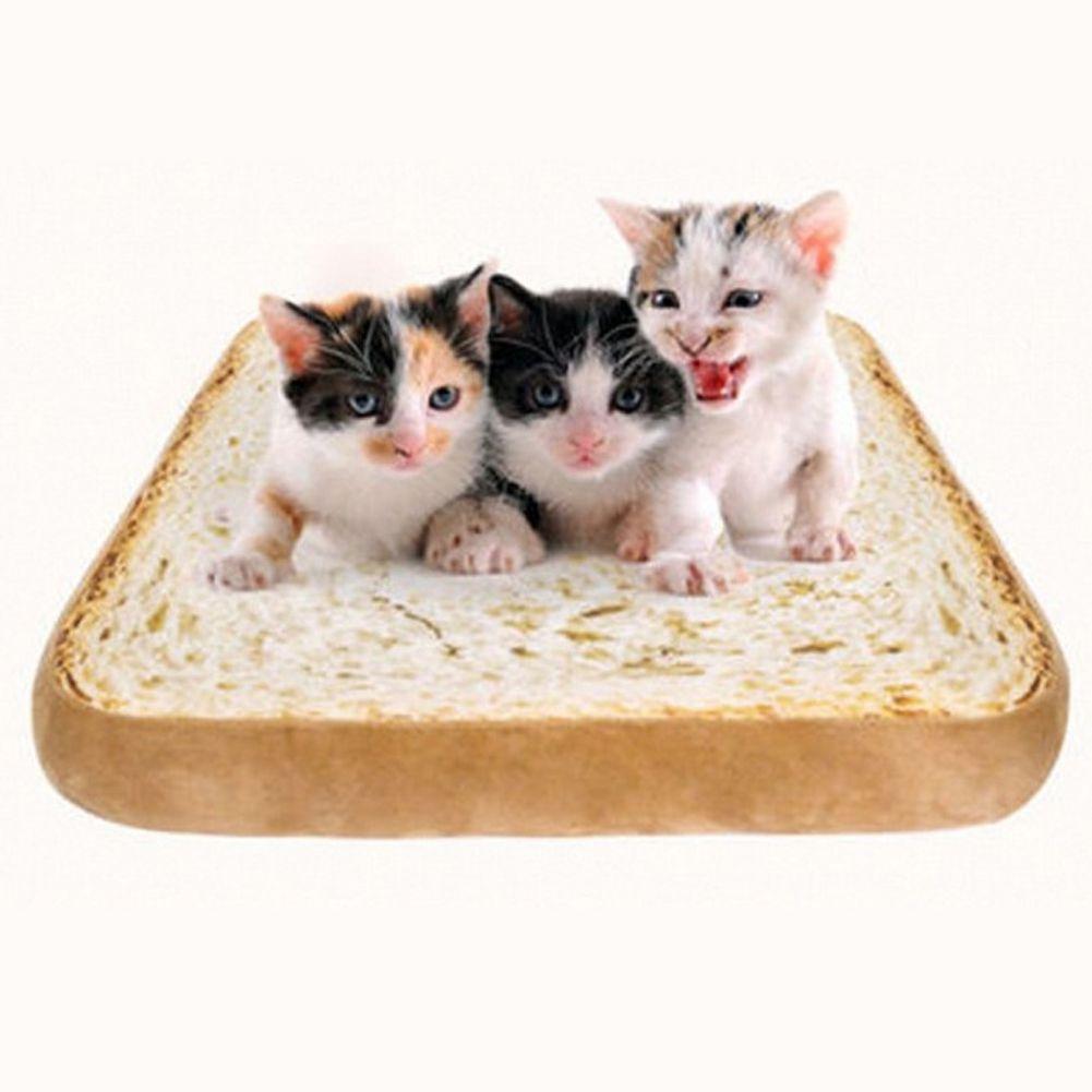 40 cm Toast Pain Forme Chien Tapis Maison pour Chat Rembourré Sellette Dog Chiot Lit Chaud Coussin avec Amovible Lavable couverture