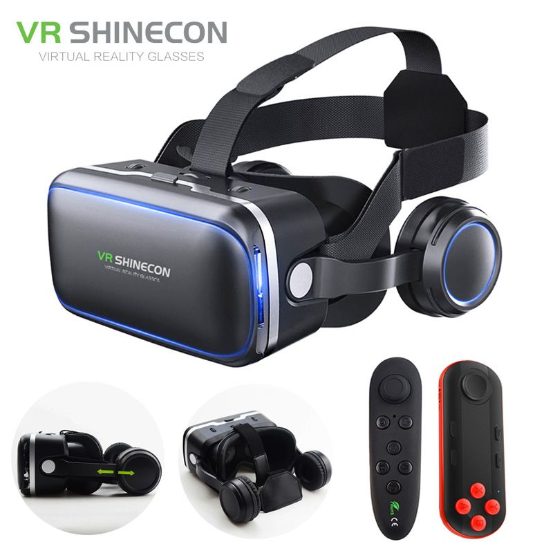 VR Headset Shinecon 6.0 Pro Stereo Virtual Reality Smartphone 3D Glasses Google BOX VR Headset with Controller for Android