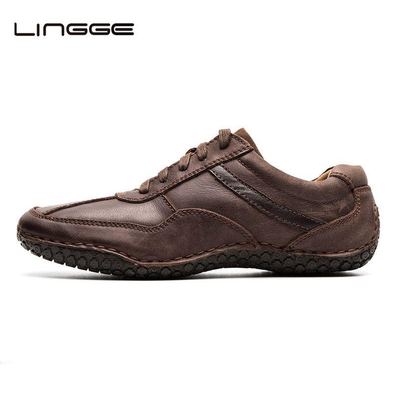 LINGGE туфли мужские Официальная обувь 2017 Кожаная обувь бизнеса Высшее качество платье Обувь ручной работы #530-8