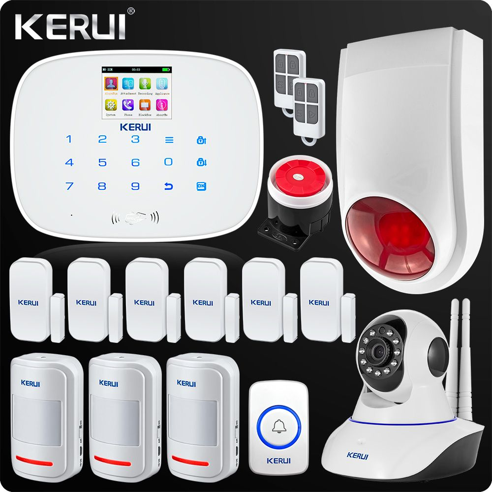KERUI 2018 Newest Arrival GSM Wireless Home Security Alarm System Wifi IP Camera SMS RFID Detector Kit Wireless alarm system