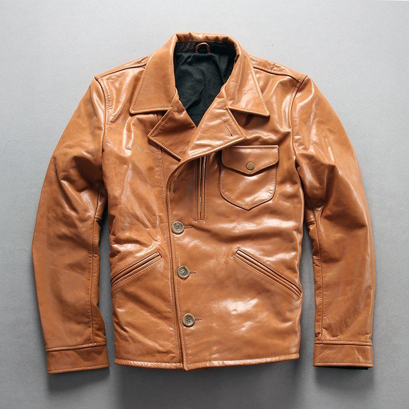 A1810 Lesen Beschreibung! Asiatische größe super qualität männer echte kuh leder mantel vintage rindsleder leder jacke