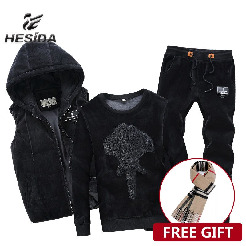 Hoodie Velvet Tracksuit Men Warm Sport Suit Track Winter Clothing Brand Vest 3 Piece Set Male Jogging Hood Black Sportwear Coat