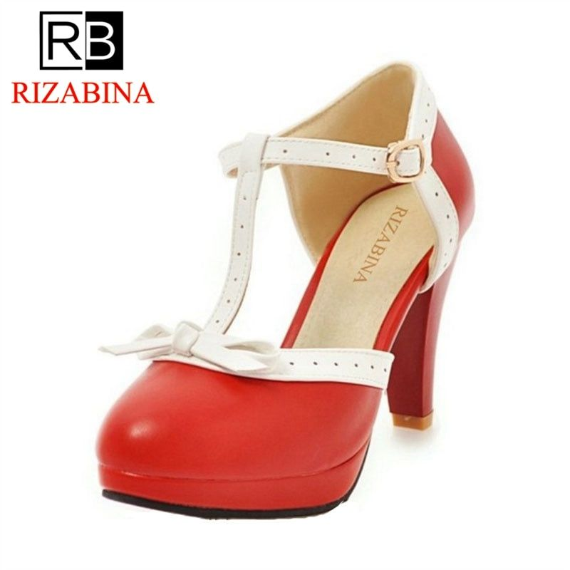RIZABINA Size 32-48 High Heel Women Sandals bow Wedding Shoes Women's Square Heels Sandals Round Toe Platform Shoes Footwear