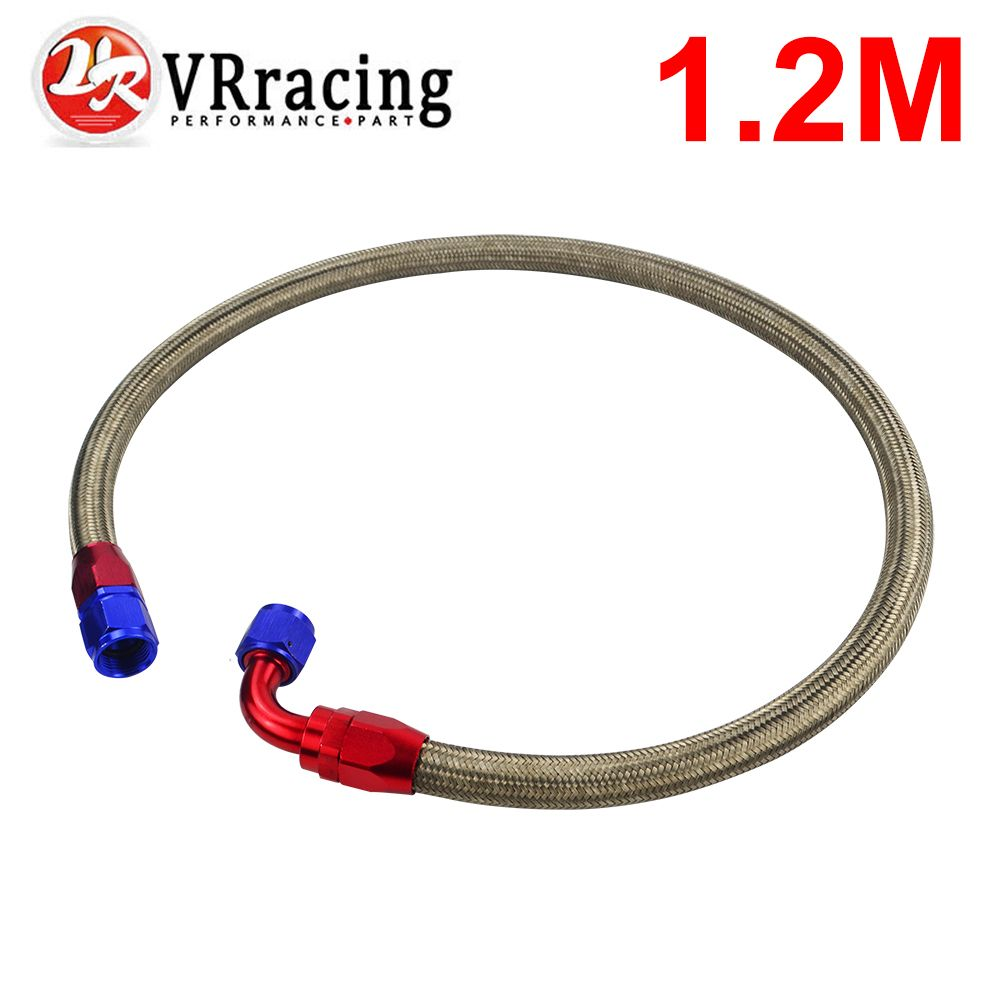VR RACING - 1.2METER AN10 STAINLESS STEEL BRAIDED Fuel Oil Line + STRAIGHT AN SWIVEL FITTING + 90 DEGREE SWIVEL FITTING VR3702S