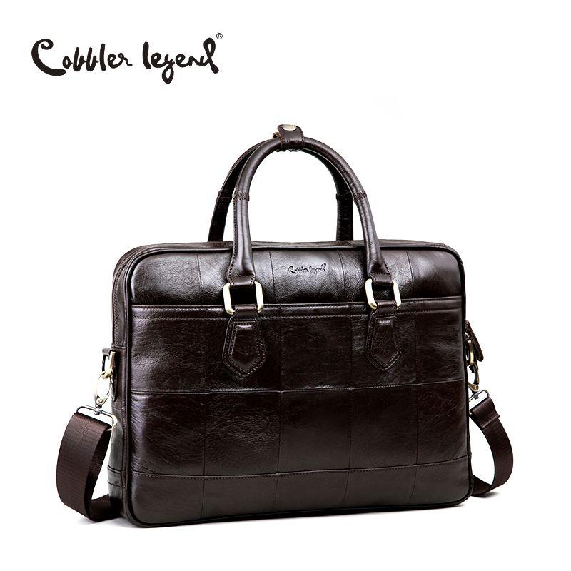 Cobbler Legende Marke Designer männer Echte Leder Aktentasche Tasche Für Männliche Crossbody Taschen Für 15 ''Laptop Business-tasche 0907159-A-1