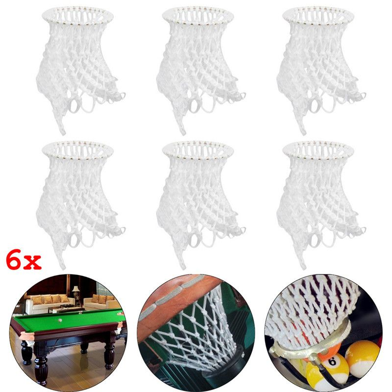 New Arrival 6 Pcs/Lot White Billiard Pool Snooker Table Cotton Mesh Net Bags Pockets Club Kit  Accessories Replacement Pouches