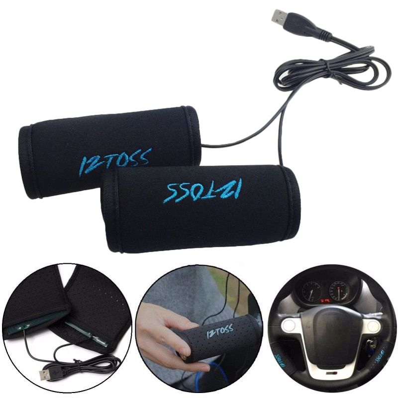 High Quality USB Heated Steering Wheel Cover Rechargeable Motorcycle Hand Warmers Handle Heated Handlebar Practical