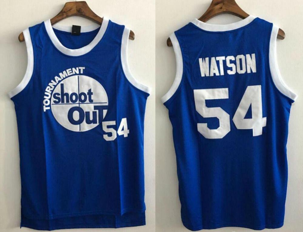 Basketball Jersey Above The Rim Kyle Watson 54# Tournament Shoot Out Basketball Jersey Blue Cheap Throwback Jersey Sleeveless