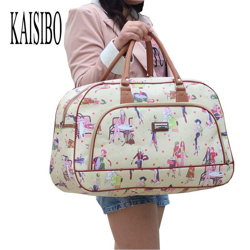 KAISIBO Women Waterproof Travel Bag Summer Style PU Leather Women Bag Travel Duffel Bag New Tower Beauty Lady Print Luggage