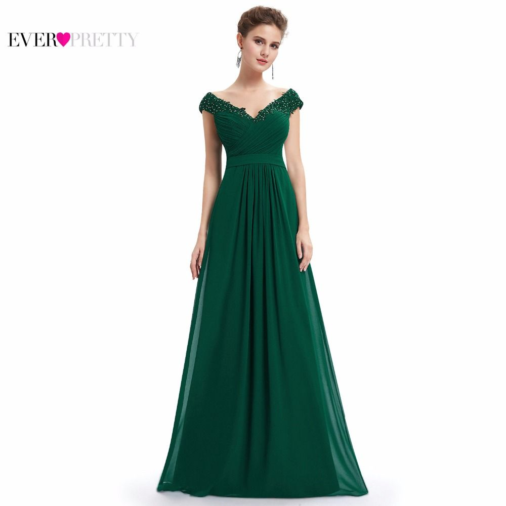 Ever Pretty Evening Dresses EP08633 Women Elegant Sexy Beading Deep V neck Long Evening Gown 2018 Chiffon Dress robe de soiree