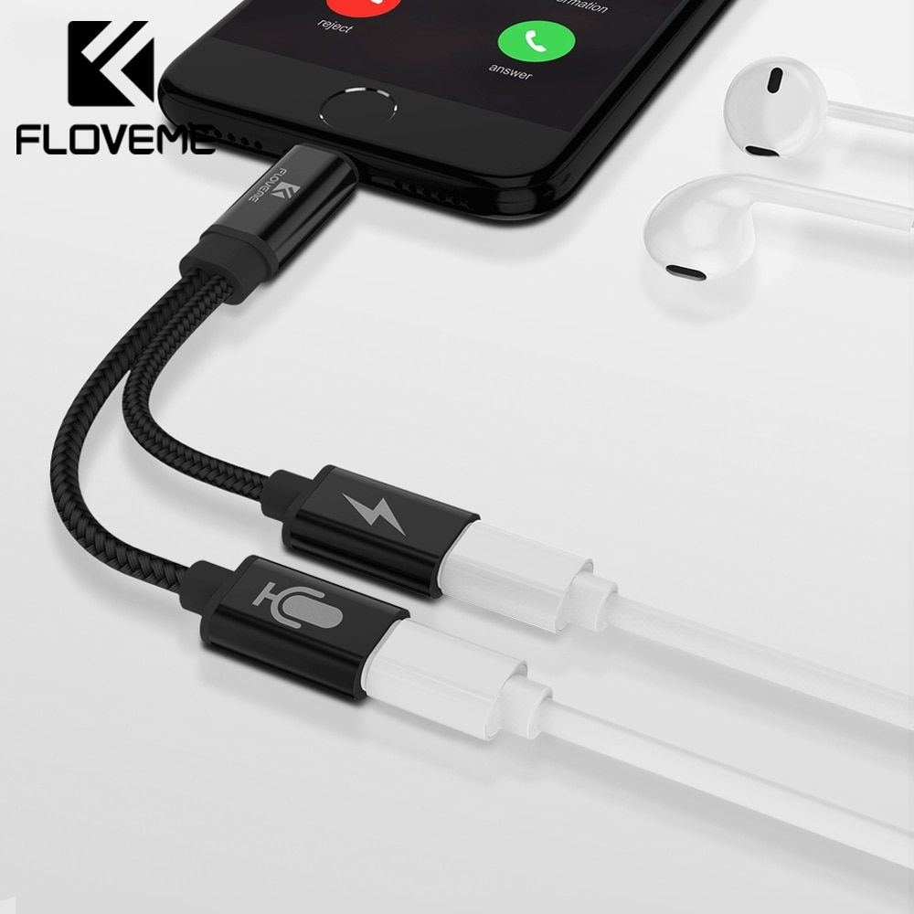 FLOVEME 2 dans 1 Pour La Foudre à Audio Convertisseur Pour iPhone 7 8 Plus Splitter Écouteur Jack Aux Câble USB adaptateur Pour iPhone 7 8
