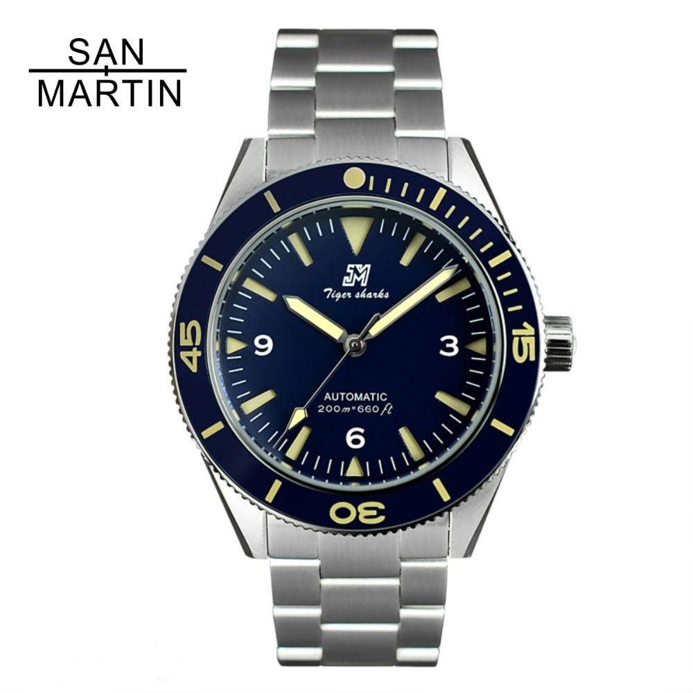 San Martin Men Vintage Stainless Steel Diver Watch Automatic Movement 200 Water Resistant Ceramic Bezel Relojes Hombre 2018