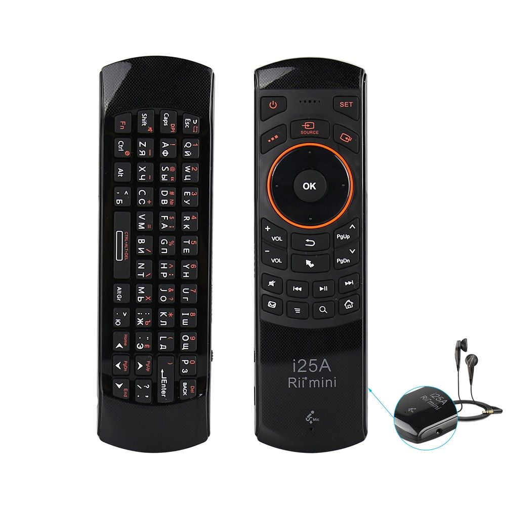 Original Rii i25A 2.4G Mini Wireless Russian Fly Mouse Keyboard with Audio for PC, HTPC, Android TV Box