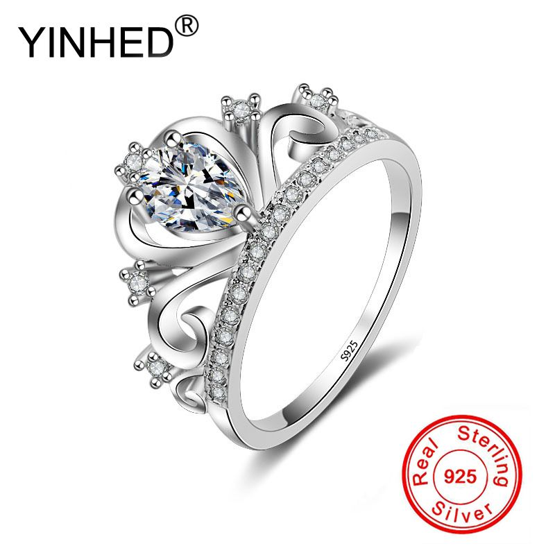 YINHED Princess Crown Rings for Women AAA Cubic Zirconia Micro Pave Setting Engagement Wedding Rings Female Accessories PR057