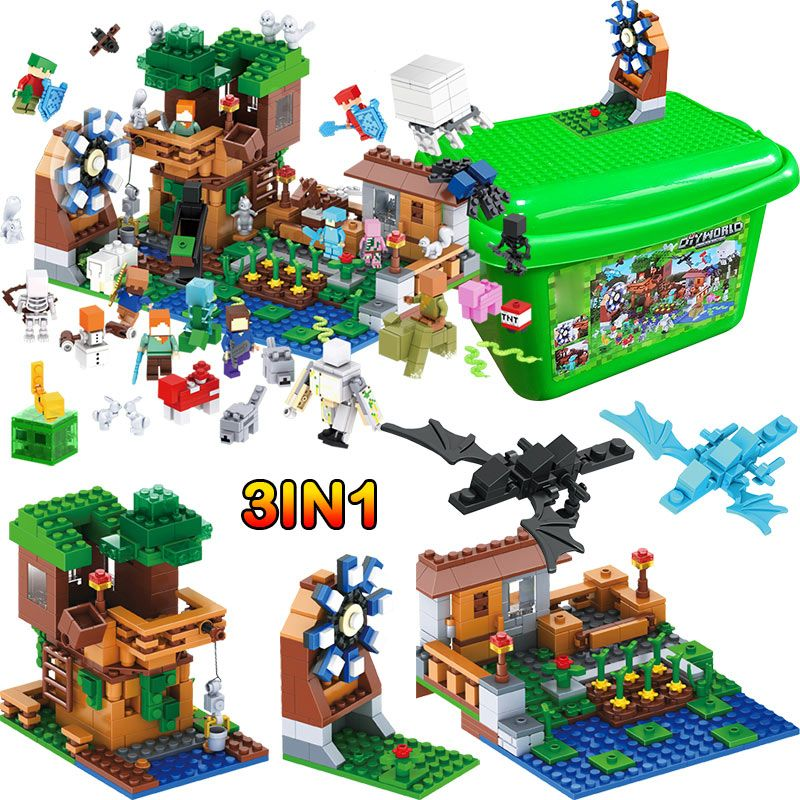 My World Luxury Tree House Pet Village Farm Building Blocks Compatible legoINGLY Minecrafted Windmill 2 Dragon Kids Toys Gifts