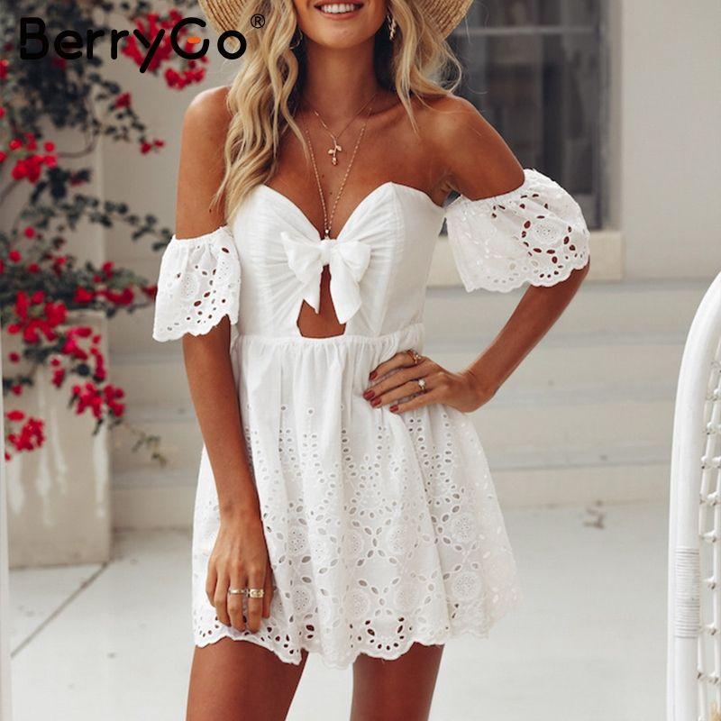 BerryGo Hollow out bow short dress women Sexy off shoulder white dress summer High waist backless summer dress vestidos 2018 new