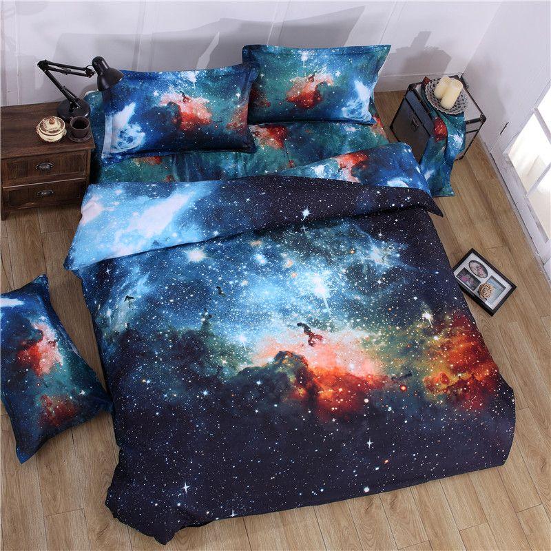 IDouillet 3D Nebala L'espace Étoiles Galaxy Literie Ensemble 2/3/4 pcs Housse de Couette Drap Plat Taie D'oreiller reine Taille Double