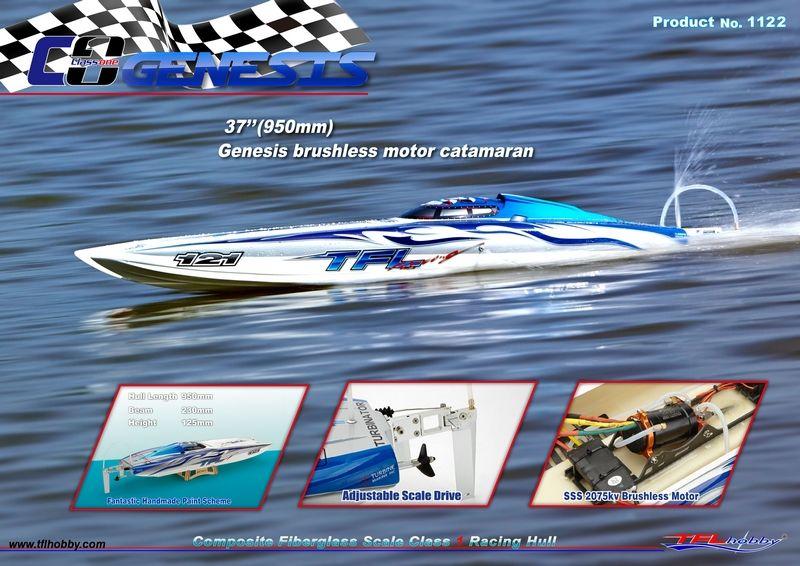 Genesis 1122 Catamaran Fiberglass Racing Boat w/ Twin Dual 3660 brushless Motors KV2726, Dual 120A Hobbywing ESC