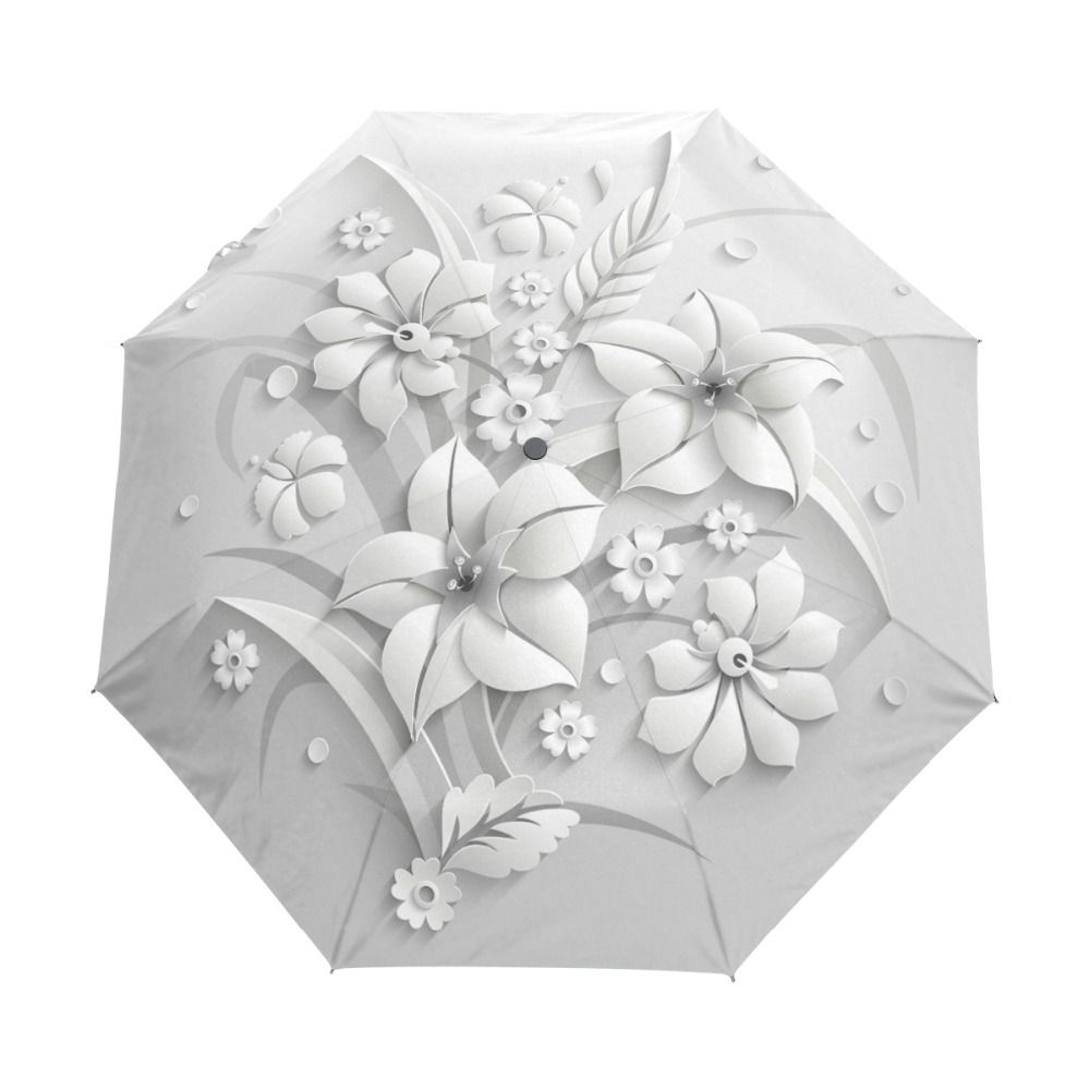 Full Automatic 3D Floral Guarda Chuva White Chinese Sun Umbrella 3 Folding Umbrella Rain Women <font><b>Anti</b></font> UV Outdoor Travel Sombrinha