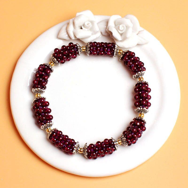Free Shipping Pretty Hand Weave 3.5mm Round Shape Natural Red Garnet Gems Elasticity Bracelets w3484