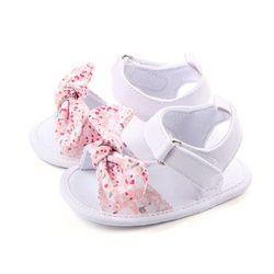 Verano dulce Zapatos de bebé princesa arco grande floral Primeros pasos suave Suela anti-deslizante niños cuna bebe calzado 0- 12 m