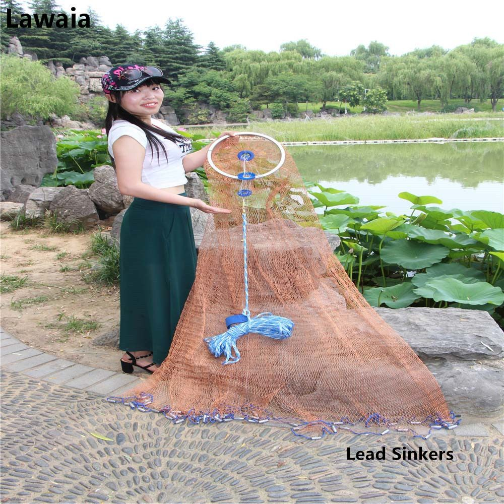 Lawaia Fishing Nets Lead Sinkers Red line Fishing Gear The Throwing Single Cast Net With Ring Fishing Network Diameter 2.4m-7.2m