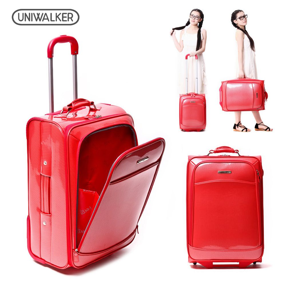 UNIWALKER 19 20 23 Inch Unisex Classic Rolling Hardside Luggage Fashion PVC Trolley Maleta with Wheels Travel Suitcase Raliz