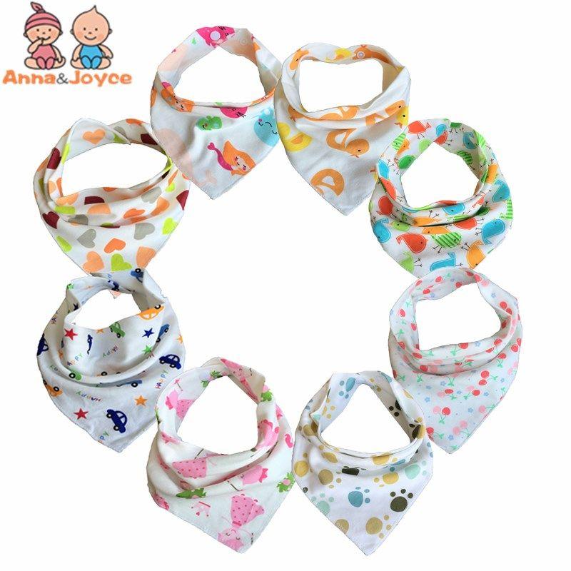 Free Shipping 10pc/lot Baby Bibs  100% Cotton Triangle Head Scarf Boy Kerchief Girl Babador Bandana Dribble Bib