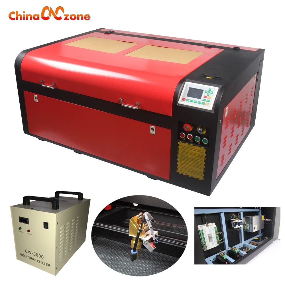 6090 100W laser cutter machine 900*600mm Laser Engraving with CW3000 Water Chiller and Rotary Motorize up and down table