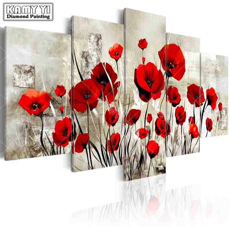 full square drill Diamond embroidery Poppy flowers 5D DIY diamond painting Cross Stitch Multi-picture home decoration