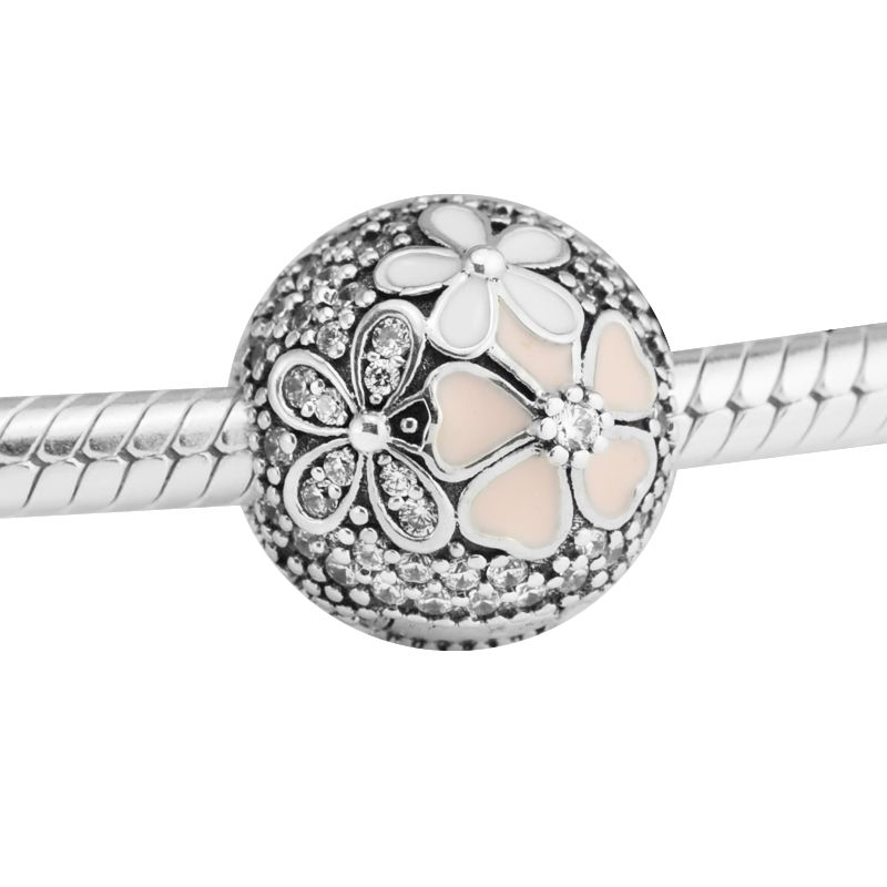 Fits Pandora Bracelets Poetic Blooms Clips Silver Beads 100% 925 Sterling Silver Charms DIY Jewelry Natural Stone PerLas Perles