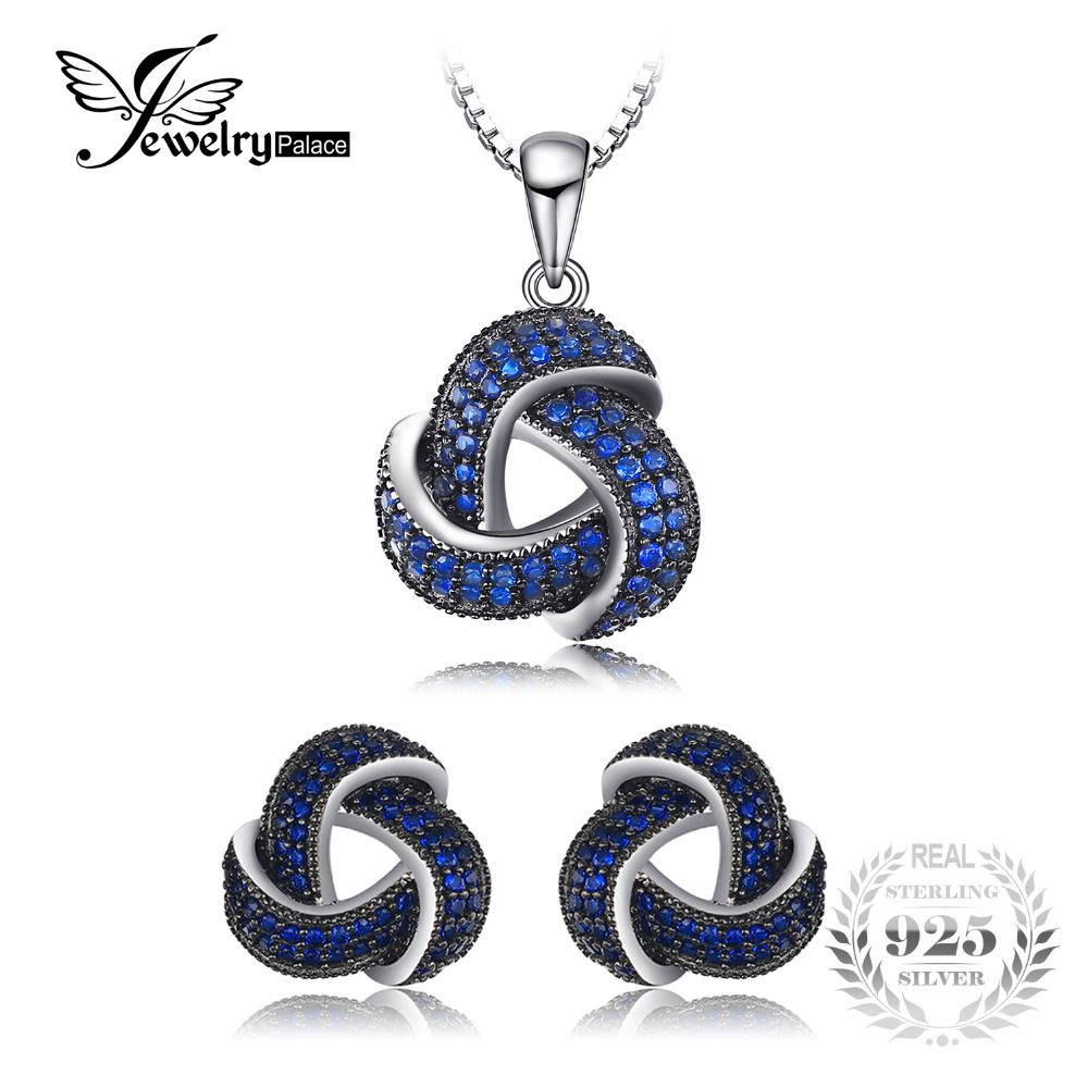 JewelryPalace 1ct Created Blue Spinel Flower Wraparound Cluster Pendant Necklace Stud Earrings Jewelry Sets 925 Sterling Silver