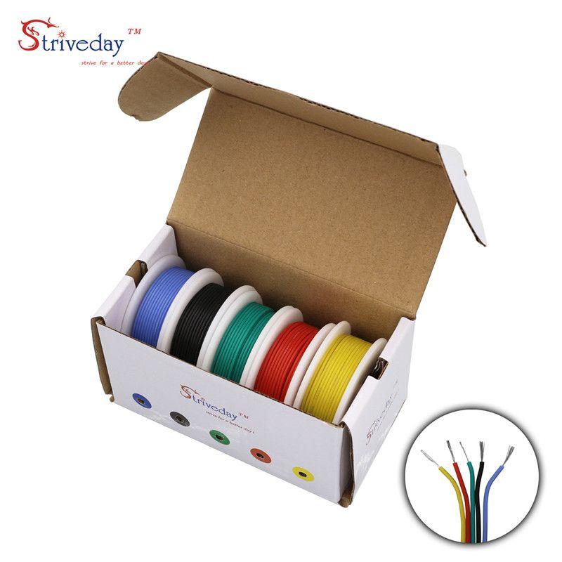 Ligne de cuivre étamé de fil de Silicone Flexible de 30/28/26/24/22/20/18awg 5 couleurs (Kit de fil toronné de mélange de 5 couleurs)
