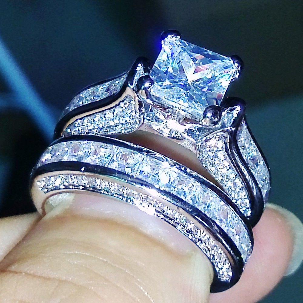 Victoria Wieck Princesse Cut Antique bijoux Dazzing 925 Sterling Argent Blanc AAA CZ pierres De Mariage De Mariée Anneau Cadeau Taille 5-11