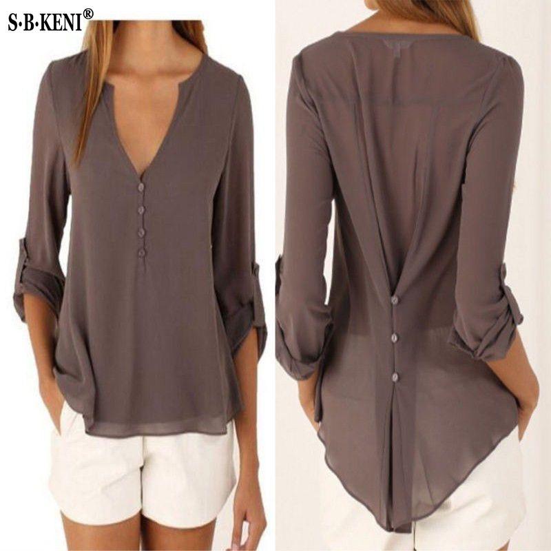 Fashion Women Blouse & shirt Plus Size S-5XL kimon Female long sleeve chiffon blouse Chic Elegant Lady Loose Tops chiffon shirt