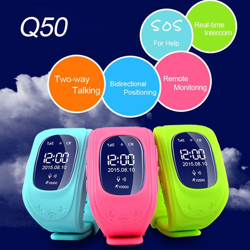 Q50 детские безопасные GPS SmartWatch Locator трекер анти потерял Мониторы Прекрасный наручные часы Поддержка Micro SIM карты для детей
