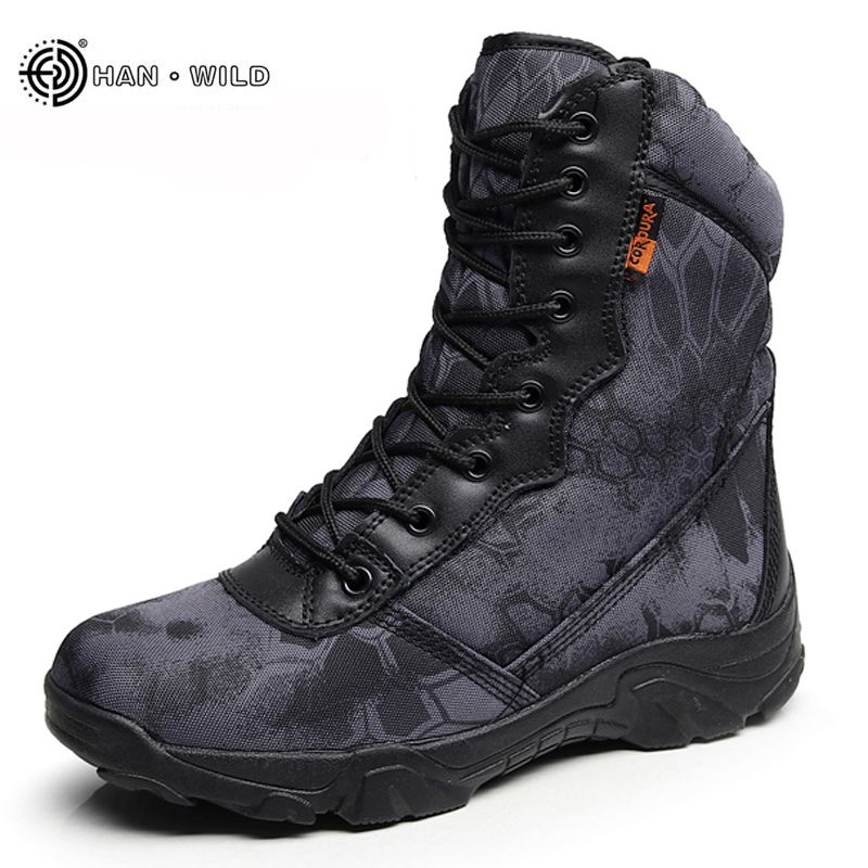 Winter Men Military Army Boots Vintage Lace Up Front Leather Mens Tactical Boots High Top Safety Work Shoes Combat Ankle Boots